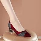 粗跟鞋 大東真皮女鞋單鞋2021年春秋新款高跟鞋女粗跟百搭尖頭中跟皮鞋子