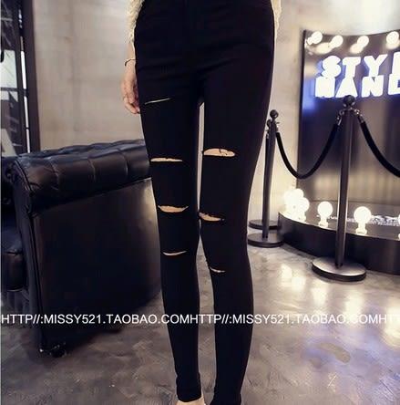 EASON SHOP(GU3180)割破洞黑色內搭褲貼腿庫彈力貼身小黑褲女褲外穿秋裝韓緊身小腳鉛筆長褲窄管褲
