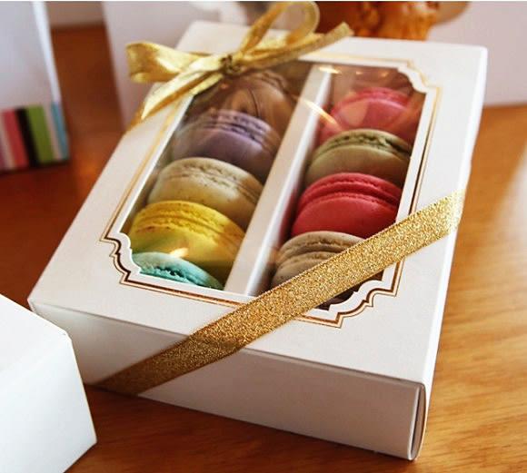 10粒 純白馬卡龍盒 透明包裝盒 抽屜式開窗纸盒 巧克力盒 烘焙包装盒子 糖果餅乾盒 點心盒 外帶盒