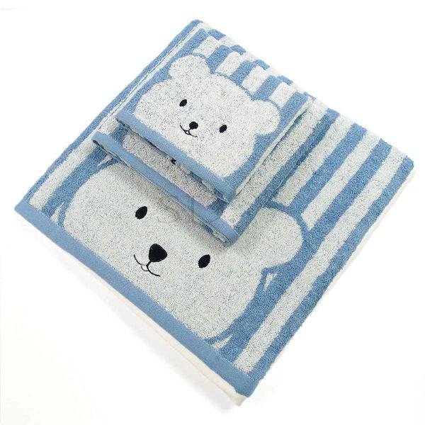 雙星Gemini色紗系列-SB509K彩色條紋熊毛巾 舒適柔軟