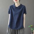 短袖POLO衫 2021娃娃領短袖寬鬆小衫大碼上衣顯瘦遮肚子棉麻鏤空復古T恤女夏