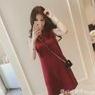 ins超火系帶直筒裙子夏季韓版蝴蝶結顯瘦小心機純色無袖洋裝女 元旦狂歡購