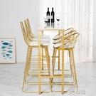 大理石吧台桌網紅奶茶店桌簡約現代長條窄桌酒吧台靠墻鐵藝高腳桌 3CHM