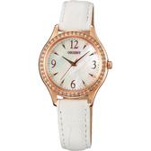 ORIENT 東方錶 DRESS 優雅晶鑽數字石英女錶-珍珠貝x玫瑰金框/30mm FQC10005W