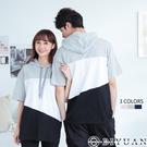 【OBIYUAN】情侶帽T 台灣製 玩色拼接 短袖T恤 衣服 共3色【JG2458】