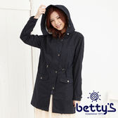betty's貝蒂思   點點滿版長版連帽大衣(深藍)