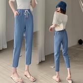 牛仔褲女 天絲牛仔褲子女夏季薄款2021新款寬鬆直筒休閒哈倫九分冰絲女褲夏【快速出貨】