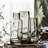 簡約臺面花瓶客廳餐桌輕奢玻璃花瓶透明水養插花裝飾【邻家小鎮】