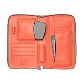 【LILI RADU】德國新銳時尚設計品牌 手工雙色小牛皮時尚手拿多功能化妝包 手機包 錢包(優雅褐)