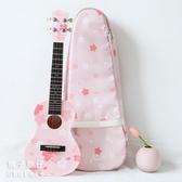 櫻花琴尤克裏裏Kai雲杉面單粉色少女禮物小吉他 傑克傑克館