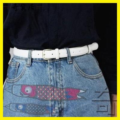 皮帶女士簡約百搭韓國牛仔褲細腰帶女褲帶裝飾腰練潮學生韓版白色