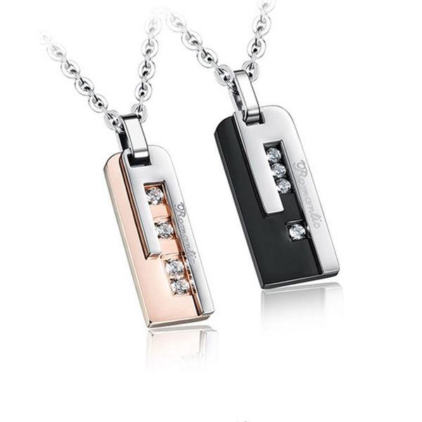 【5折超值價】 【316L西德鈦鋼】最新款歐美時尚經典長方形鑲鑽造型情侶款鈦鋼項鍊