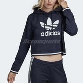 adidas 帽T Active Icons Hoodie 深藍 白 三葉草 短版 長袖上衣 女款 【PUMP306】 DH2982