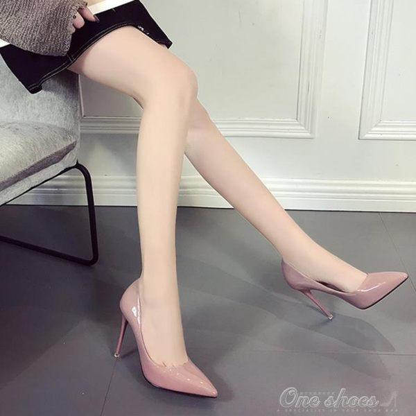歐美情趣2019新款尖頭高跟性感漆皮sm高跟女鞋淺口單鞋細跟工作鞋one shoes