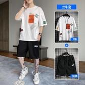 夏季男士韓版短袖T恤 潮流運動服休閒套裝潮牌搭配一套帥氣短褲ins JX2489『優童屋』