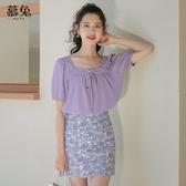 紫色法式方領雪紡襯衫女夏季2020新款韓版甜美泡泡袖鎖骨上衣小衫