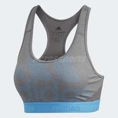 adidas 運動內衣 Alphaskin Bra 灰 藍 女款 挖背 運動專用 【ACS】 DT6211