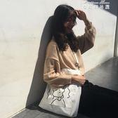 斜背包包女潮學生文藝韓版百搭大容量單肩手提帆布袋 麥琪精品屋