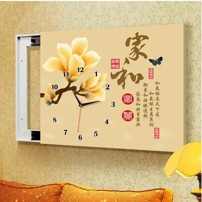 G6款電箱簡約現代壁畫帶鐘錶可推拉遮擋電錶箱裝飾畫【50*40(內徑40*30)】