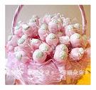 幸福朵朵【義大利草莓造型大棉花糖x100支+大提籃x1個】二次進場/送客喜糖/生日/畢業/來店禮