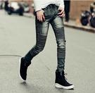 找到自己品牌 男 時尚 街頭 潮 褶皺感 水洗 牛仔褲 九分褲 小腳褲 窄管褲