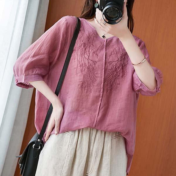 棉綢樹枝刺繡上衣-大尺碼 獨具衣格 J3588