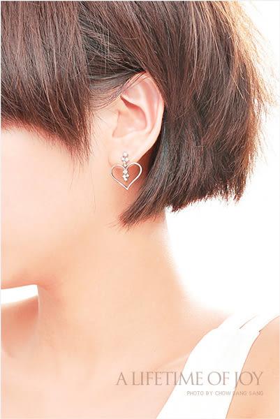 點睛品 心影系列 心型鉑金鑽石耳環