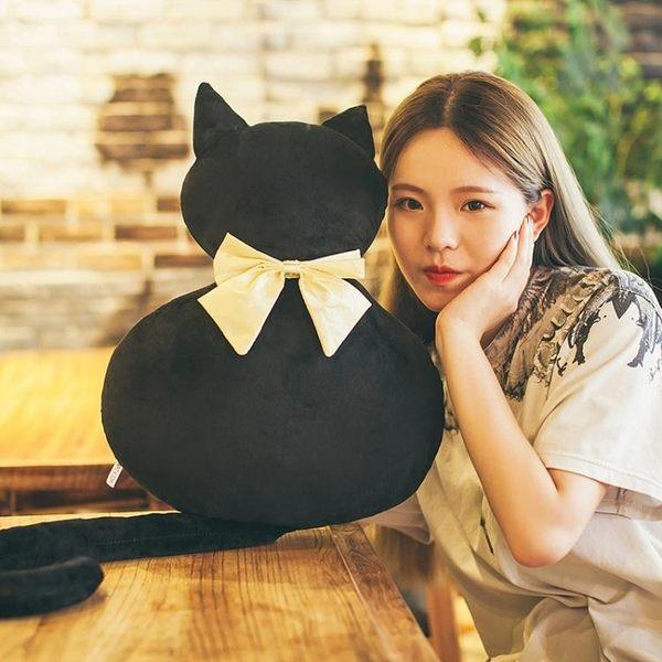 大型公仔 背影貓咪公仔毛絨玩具黑貓抱枕『BABY嚴選』