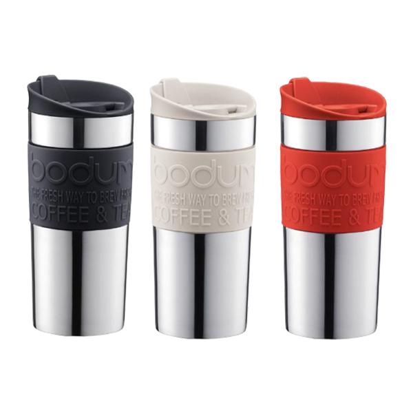 丹麥Bodum 雙層不鏽鋼真空隨行杯 350cc 米白/黑/紅
