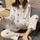 睡衣 睡衣女春季可外穿2021新款網紅韓版珊瑚絨家居服套裝兩件套洋氣【快速出貨八折搶購】