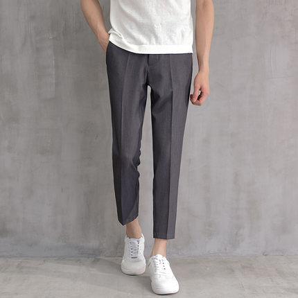夏季垂感西褲男九分修身韓版潮流寬鬆直筒褲子薄款男士休閒西裝褲