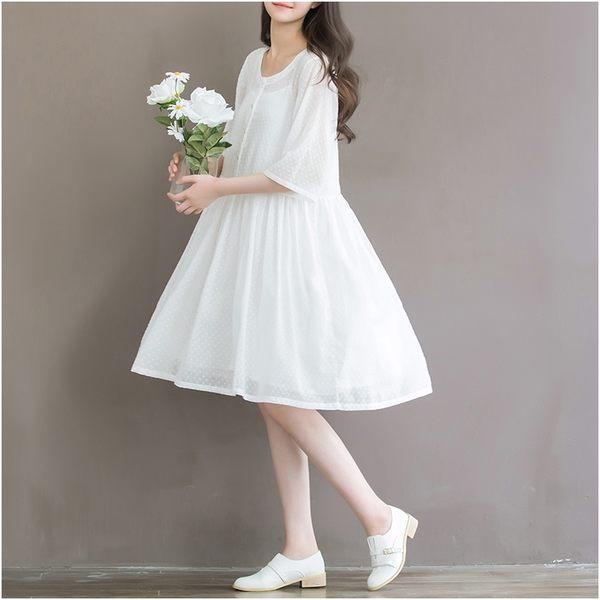 東京奈奈日系中袖純白清涼森林系洋裝[j26831]