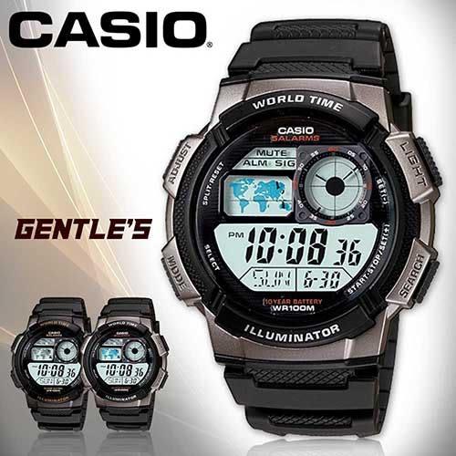 CASIO手錶專賣店 卡西歐 AE-1000W-1B 男錶 銀框  數位 秒錶 防水100米 LED照明 橡膠錶帶