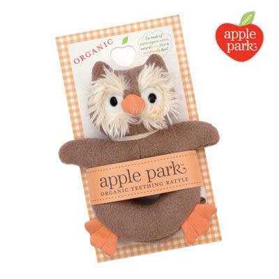 【美國 Apple Park】有機棉手搖鈴啃咬玩具- 貓頭鷹