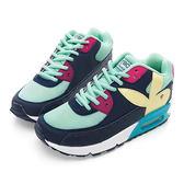 PLAYBOY 繽紛炫彩撞色氣墊運動鞋-藍綠