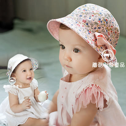 小碎花雙面戴 遮陽盆帽.圓帽 防曬 (附2個蝴蝶結) 遮陽帽. 橘魔法 Baby magic 現貨 兒童 童裝