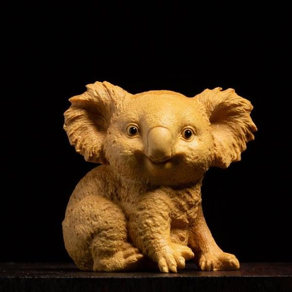 小葉黃楊木雕飾品客廳裝飾雕刻工藝品手把件動物擺件考拉