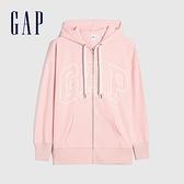 Gap女裝 碳素軟磨系列 Logo法式圈織開襟連帽外套 975199-粉色