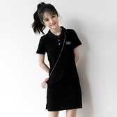 短袖洋裝 2021夏季新款少女學院風翻領黑色裙子女韓版學生短袖Polo領連身裙 伊蒂斯