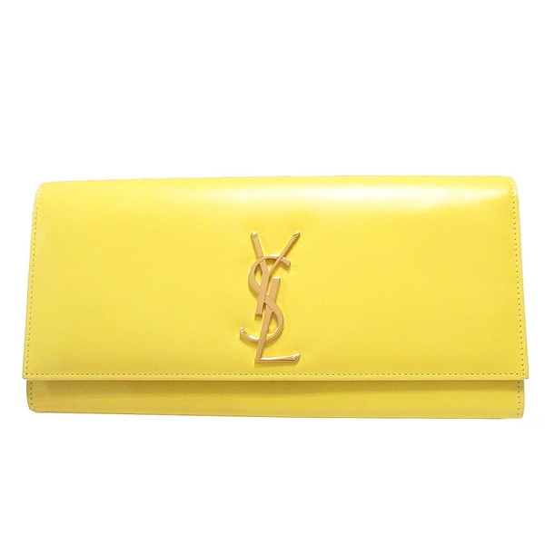 SAINT LAURENT YSL 黃色牛皮Logo金釦手拿包 Kate Clutch Bag 326079 【BRAND OFF】