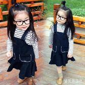 女童牛仔吊帶裙 秋兒童洋裝中小童寶寶背帶裙裙子秋季 BF13400『寶貝兒童裝』