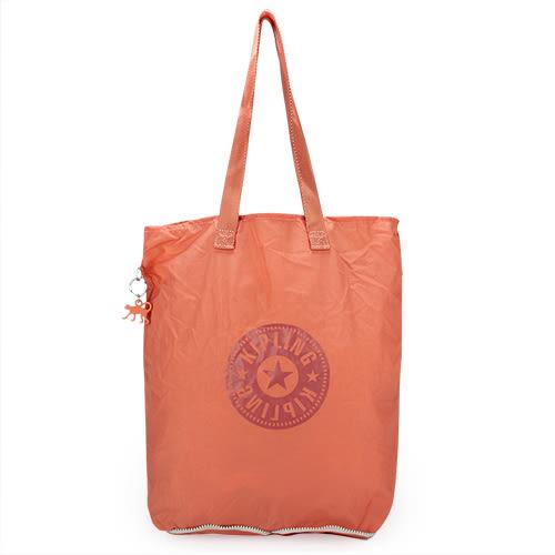 Kipling HipHurray尼龍摺疊購物袋(藕橘色)460172-121