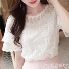 蕾絲打底衫 很仙的上衣大碼雪紡衫女夏短袖寬鬆女裝t恤小心機洋氣蕾絲打底衫 嬡孕哺