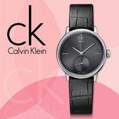 CK 手錶專賣店 K2Y231C3女錶  石英 獨立小秒針 黑面 皮革錶帶 礦物抗磨玻璃