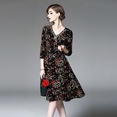 洋裝-七分袖V領鑲鑽碎花修身女連身裙2色73of81【巴黎精品】
