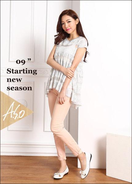 A.S.O 舒適通勤 真皮蝴蝶結奈米防滑跟鞋  白