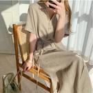 N728# 韓版簡約寬鬆系帶收腰單排扣短...