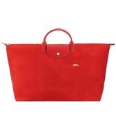 【南紡購物中心】LONGCHAMP LE PLIAGE COLLECTION刺繡短把手提旅行袋(特大/朱紅)