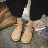 娃娃鞋    韓版豆豆鞋女羅馬綁帶平底百搭女鞋淺口圓頭單鞋時尚娃娃鞋子  歐韓流行館