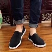 老北京千層底布鞋男士休閒鞋 防滑軟底散步鞋舒適黑布鞋子